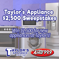Taylor's Appliance $2,500 Sweepstakes – 18 days and 7 hours and 39 minutes